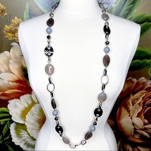 LIa Sophia Beaded Silver Tone Chunky Link Necklace